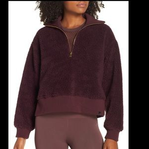 Varley Daphne Fleece Pullover Fig NWT XXS